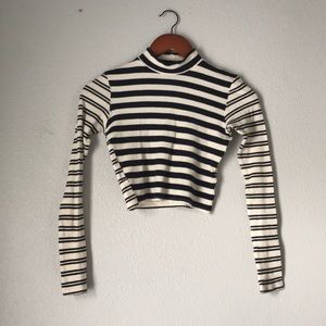 Topshop | navy and cream stripped crop top